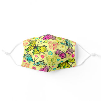 Cute Colorful Flying Butterflies Adult Cloth Face Mask