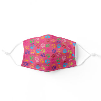 Cute Colorful Pet Print pattern on Hot Pink Adult Cloth Face Mask