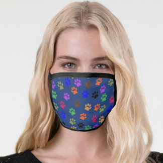 Cute Colorful Pet Print pattern on Navy Face Mask