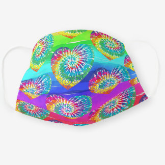 Cute Colorful Tie dye heart on Teal blue purple Cloth Face Mask