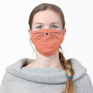 Cute Coral Cat Whiskers Kitty Nose Personalized Adult Cloth Face Mask