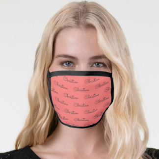 Cute Coral Grey Personalized First Name Pattern Face Mask