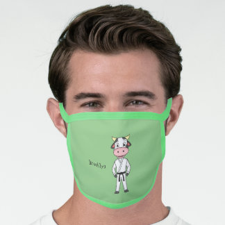 Cute cow in kung fu suit cartoon face mask
