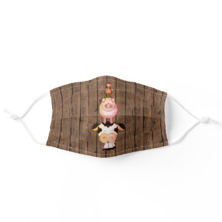 Cute Cow, Pig, Rooster Farm Animals on Barn Wood Adult Cloth Face Mask