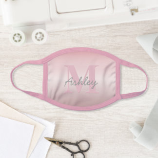 Cute Customizable Pink Monogram & Your Name Script Face Mask