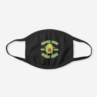 "Cute Dancing Avocado ""Rock Out With Your Guac Out"" Black Cotton Face Mask"