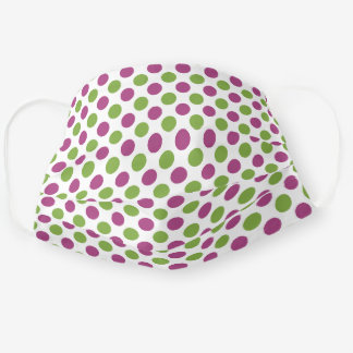 Cute Dark Pink Lime Green Polka Dots On White Adult Cloth Face Mask