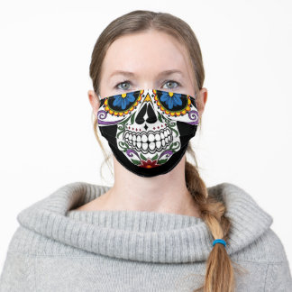 cute day of the dead sugar skull adult cloth face mask