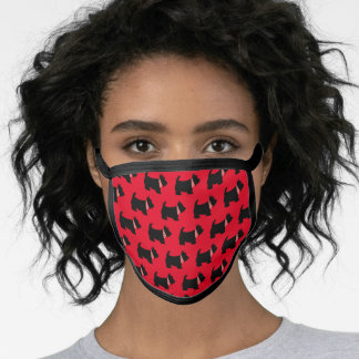 Cute Dog Black Scottish Terrier on Red Pattern Face Mask