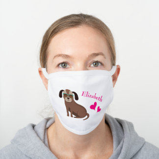Cute Dog in Glasses with Pink First Name White Cotton Face Mask