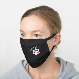 Cute Dog Mom White Paw With Heart Black Cotton Face Mask
