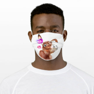 Cute Donkey and Purple Pink Bubble Adult Cloth Face Mask