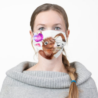 Cute Donkey and Purple Pink Bubble - Adult Cloth Face Mask