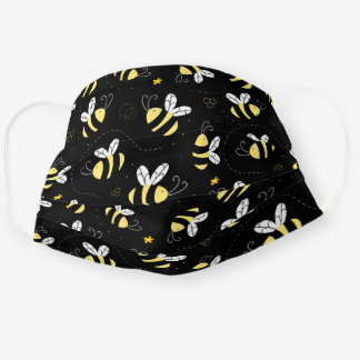 Cute Doodle Bumble Bee Pattern Cloth Face Mask