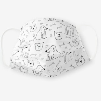 Cute Doodle Cats & Dogs Cloth Face Mask