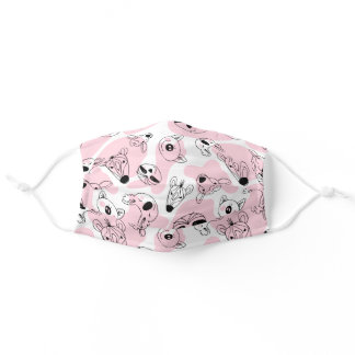 Cute Doodle Pink Polka Dot Animals Adult Cloth Face Mask