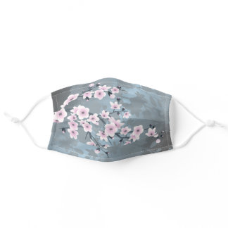 Cute Dusky Pink Grayish Blue Cherry Blossoms Adult Cloth Face Mask