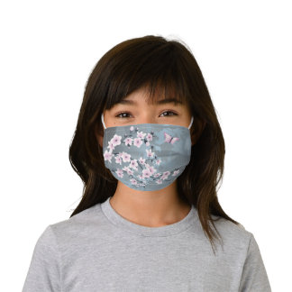 Cute Dusky Pink Grayish Blue Cherry Blossoms Kids' Cloth Face Mask