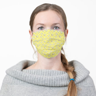 Cute elephant with heart yellow adult cloth face mask