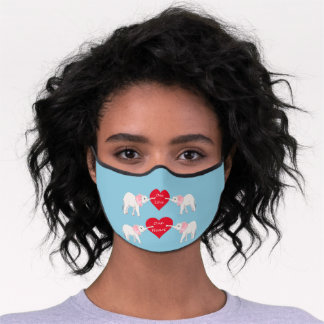 Cute Elephants Holding a red heart, one love Premium Face Mask