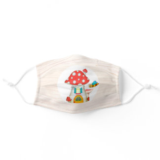 Cute Enchanted Woodland Toadstool House Whimsical Adult Cloth Face Mask