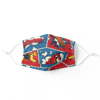 Cute Face Mask. Comic Book Theme Adult Cloth Face Mask