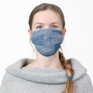 Cute Faux Patched Denim Patterned Adult Cloth Face Mask
