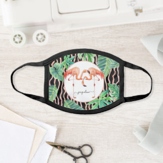 Cute Flamingo Beach Tropical Foliage Watercolor Face Mask
