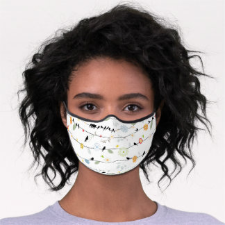 Cute Flowers and Birds on the Wire Premium Face Mask