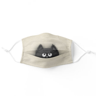Cute Fluffy Black cat peaking out Adult Cloth Face Mask