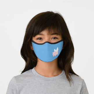 Cute Flying Pig on Blue 2 Premium Face Mask