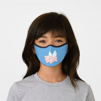 Cute Flying Pig on Blue Premium Face Mask