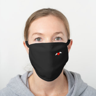 Cute Flying Red Heart Wings Design Black Cotton Face Mask