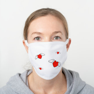 Cute Flying Red Heart Wings Design White Cotton Face Mask