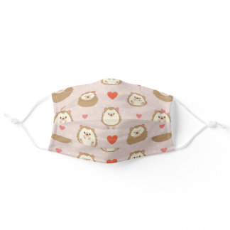 Cute Forest Animal Hearts Hedgehog Pattern Adult Cloth Face Mask