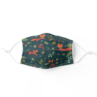 Cute Foxes in Green Holly Forest Pattern Adult Cloth Face Mask