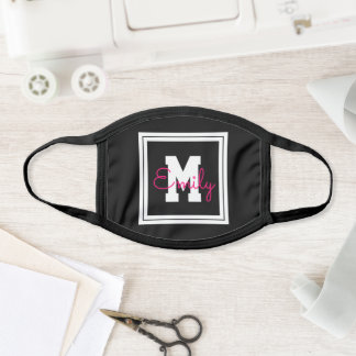 Cute Framed Name & Monogram | Black White & Pink Face Mask