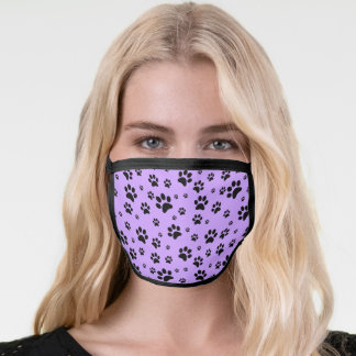 Cute Fun Scattered Black Paw Prints on Lavender Face Mask