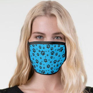 Cute Fun Scattered Black Paw Prints on Sky Blue Face Mask