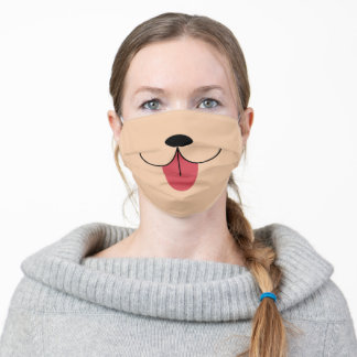 Cute Fun Simple Happy Dog Nose Tongue Out Tan Adult Cloth Face Mask