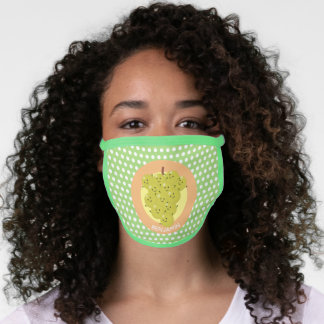 Cute funny bunch of grapes cartoon illustration face mask
