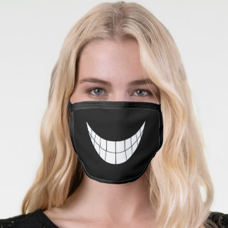 Cute Funny cartoon smile mouth white teeth Black Face Mask