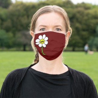 Cute Funny Comic Daisy Flower 70s Kawaii Burgundy Adult Cloth Face Mask