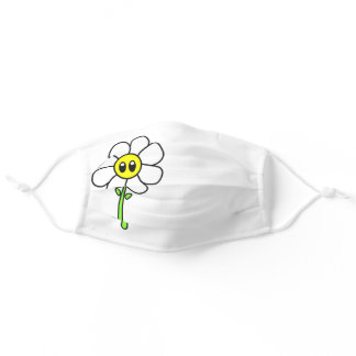 Cute Funny Comic Daisy Flower 70s Kawaii White Adult Cloth Face Mask