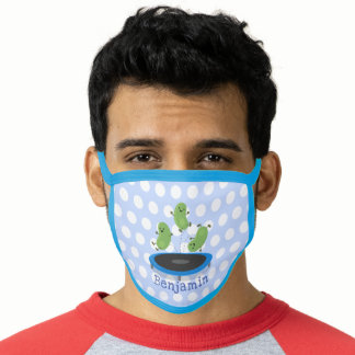Cute funny green beans on trampoline cartoon face mask
