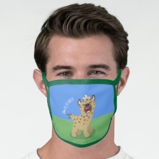 Cute funny hyena laughing cartoon illustration face mask