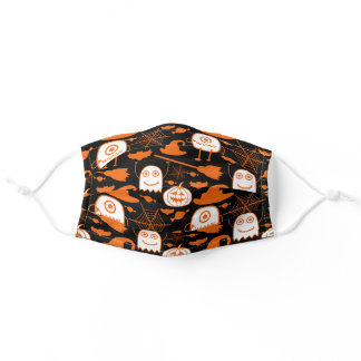 Cute Funny Orange Monsters and Pumpkins Pattern Adult Cloth Face Mask