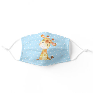 Cute Giraffe Blue and Yellow Cloth Face Mask