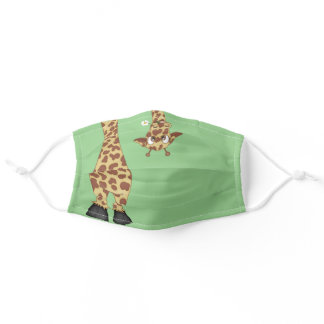 cute giraffe on green cloth face mask
