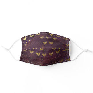 Cute Girly Fashionable Gold Hearts Burgundy Adult Cloth Face Mask